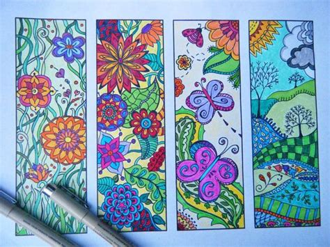 zentangle bookmark flowers  print  color coloring