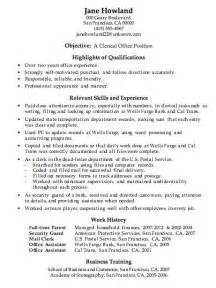 Clerical Resume Exles by Resume Sle Clerical Office Work Ready Set Work