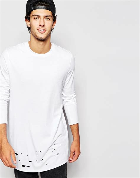 Sleeve Distressed T Shirt asos longline sleeve t shirt with distressed hem in