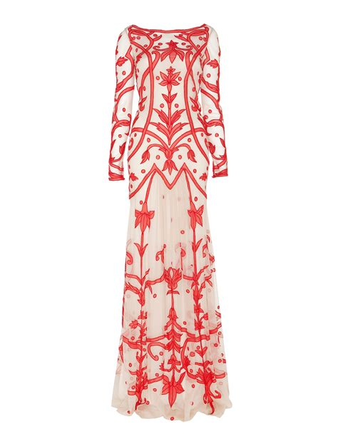 temperley london tattoo dress temperley london long francine tattoo dress in red red