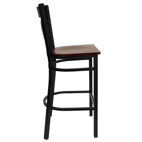 Metal Bar Stools With Backs Hercules Black Quot X Quot Back Metal Restaurant Bar Stool With