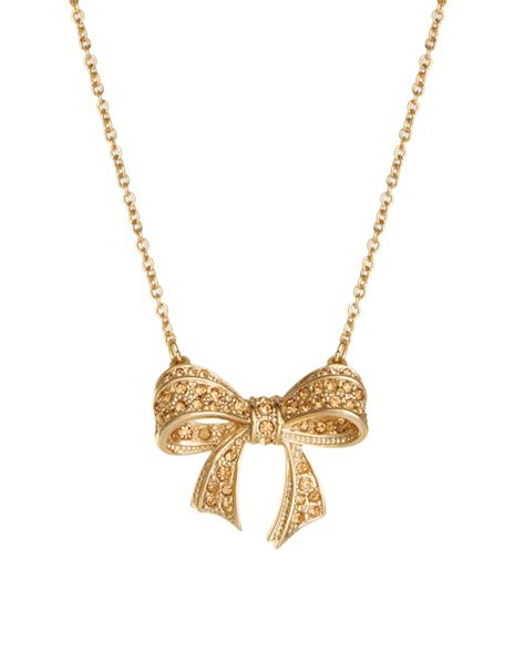 Ted Baker Necklace Bow Top by Lyst Ted Baker Pave Bow Necklace In Metallic