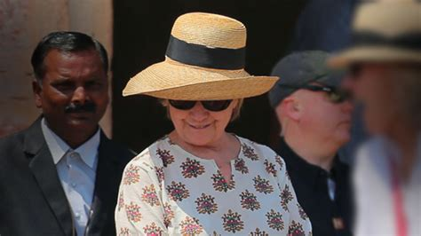 is she okay hillary clinton slips down the stairs while hillary clinton slips twice on stone steps during india