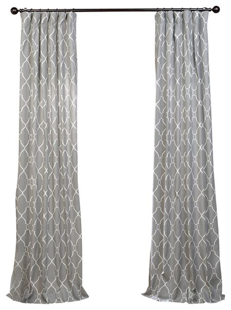 gray printed curtains aiden printed cotton single panel curtain gray