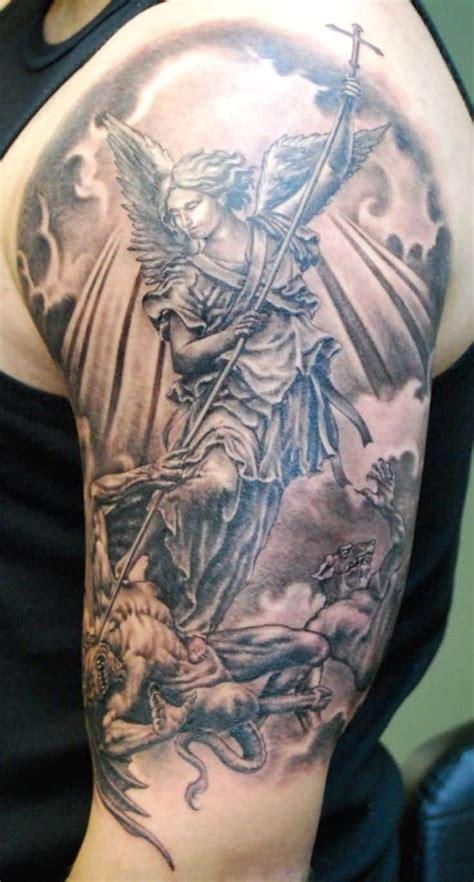 grey ink angel and black 16 half sleeve evil tattoos
