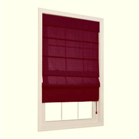 shop allen roth 23 in w x 72 in l burgundy light filtering polyester fabric roman shade at