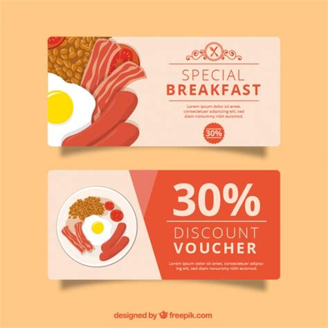 Voucher Promo discount voucher for restaurant vector free