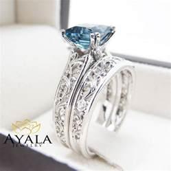 blue topaz engagement ring set princess cut topaz