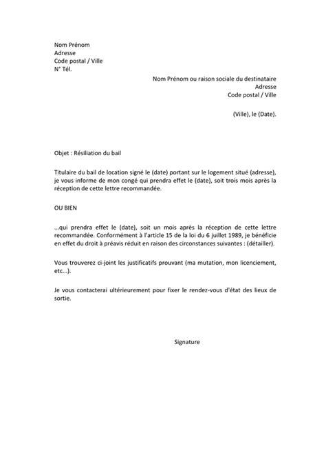 Modèle Préavis Bail