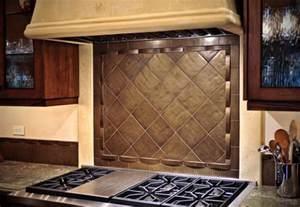 Decorative Tile Inserts Kitchen Backsplash Bronze Tile Backsplash Over Stove Traditional Kitchen