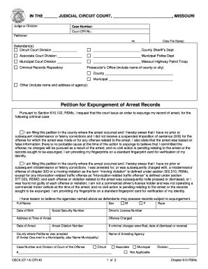 How To Expunge A Criminal Record In Missouri Fillable Cr145 Petition For Expungement Of Arrest Records Fax Email Print