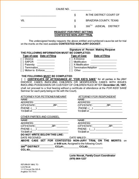 5 free divorce papers in texas divorce document