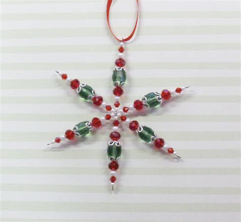 Handmade Beaded Ornaments - handmade beaded snowflake ornament in and green with white