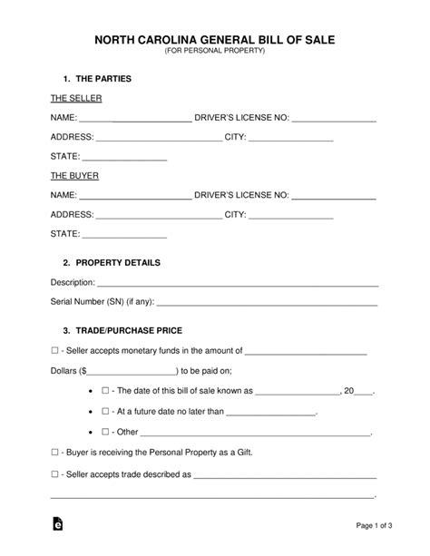 Free North Carolina General Bill Of Sale Form Word Pdf Eforms Free Fillable Forms Bill Of Sale Form Nc Template