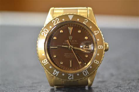 rolex gmt master ref 1675 no crown guards in 18k yellow gold tempus orologi