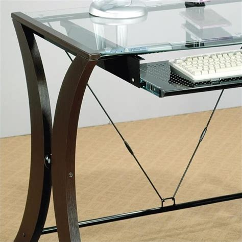 Glass Top Table Desk by Coaster Division Table Desk With Glass Top In Cappuccino Finish 800445