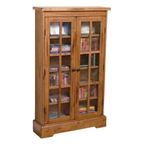 Cd Cabinets With Glass Doors Designs Sedona Rustic Oak Cd Cabinet With Rainfall Glass Doors Conlin S Furniture