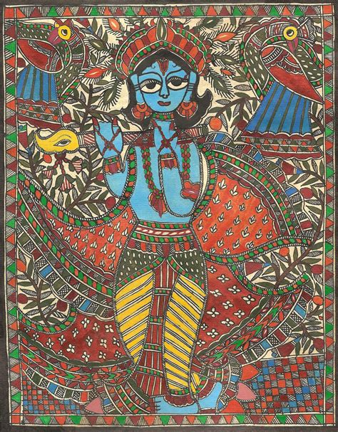 Handmade Painting - madhubani krishna folk painting handmade indian tribal