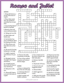 romeo and juliet themes worksheet answers romeo and juliet crossword puzzle by puzzles to print tpt
