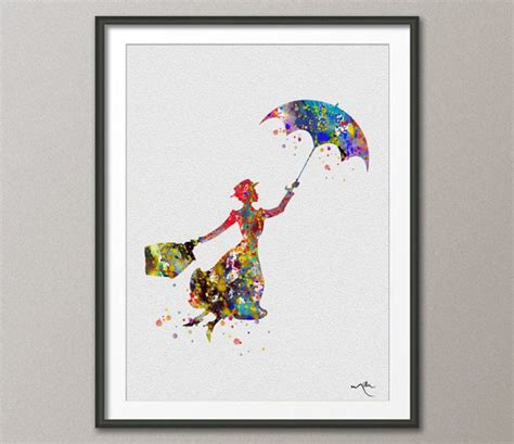 hanging art prints mary poppins inspired watercolor illustrations art by