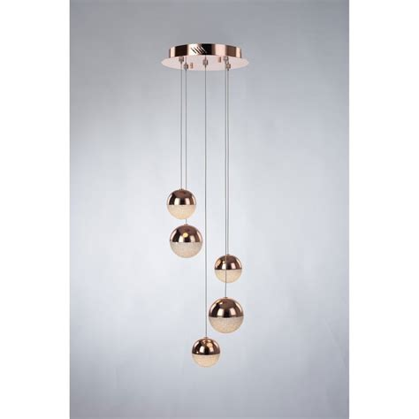 Led Pendant Light Fittings Illuminati Eclipse 5 Light Led Dimmable Spiral Ceiling Pendant Fitting In Copper Finish
