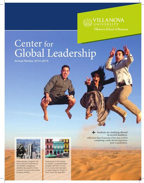 Villanova Mba Ranking 2015 by Center For Global Leadership Annual Review 2014 2015 By