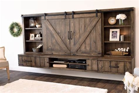 Farmhouse Barn Door Entertainment Center Floating TV Stand Spice Woodwaves