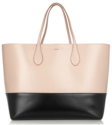 Vogue Tote Bag rochas two tone leather tote in blush and black a side