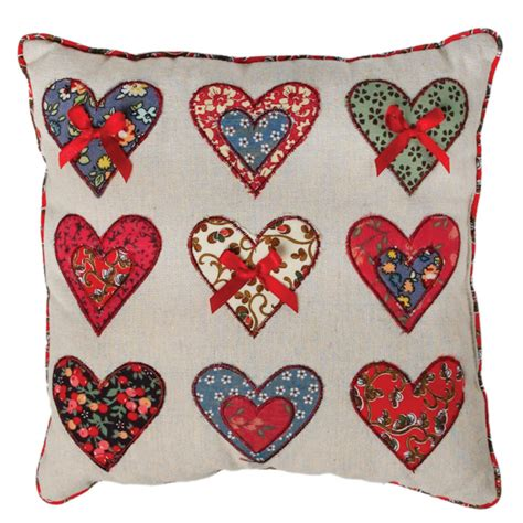 Patchwork Hearts - patchwork hearts cushion rex at dotcomgiftshop