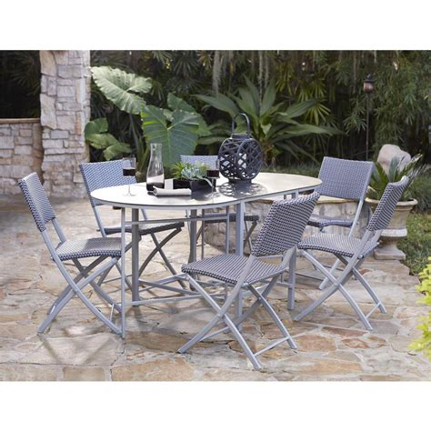 Folding Patio Dining Set Cosco Delray Transitional 7 Steel Blue Gray Woven Wicker Compact Folding Patio Dining