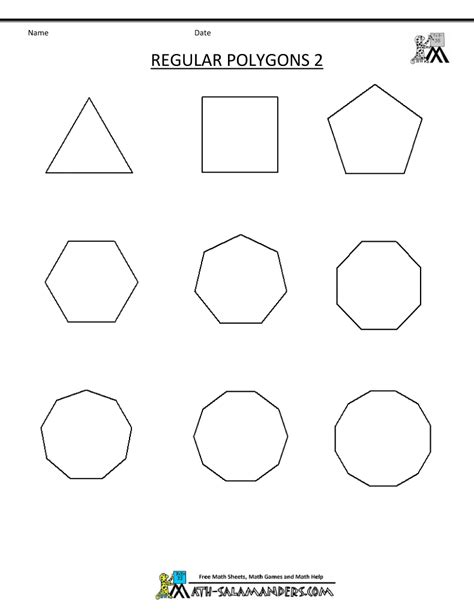 Polygon Shapes Worksheet by Regular Polygons Worksheet