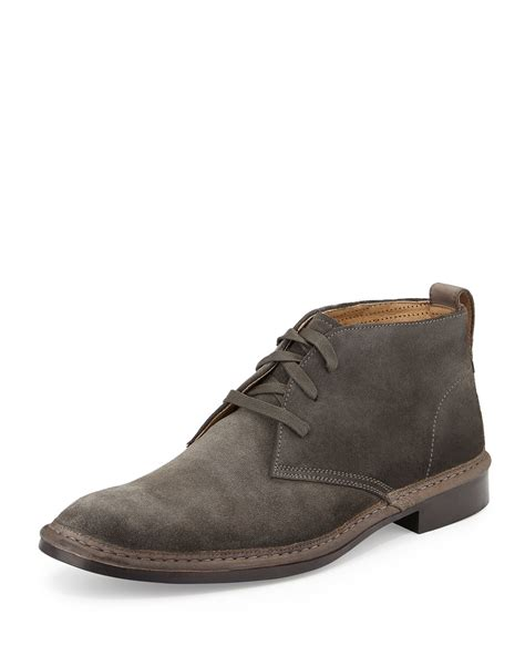 varvatos sid suede chukka boot in gray for lyst