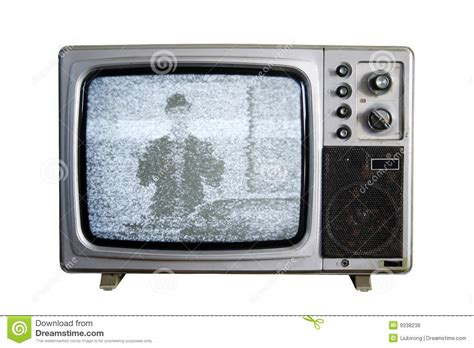 on tv an tv with the noise on white background royalty free