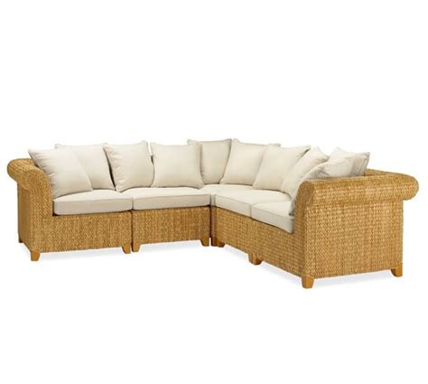 seagrass loveseat seagrass roll arm 5 piece sectional pottery barn