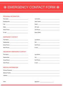 emergency contact template emergency contact form