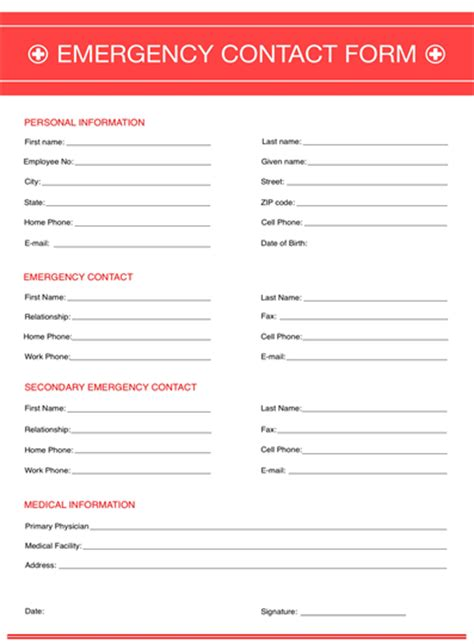 emergency contact form template emergency contact form