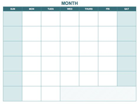 blank one month calendar template free excel calendar templates