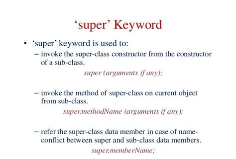 java tutorial super keyword what is the use of super keyword in java coding security