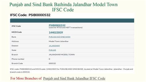 of punjab and sind bank punjab and sind bank ifsc code