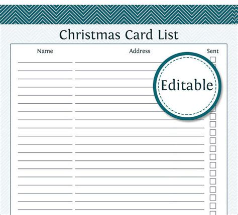 Chirstmas Card List Template by 16 List Templates Free Printable Word Pdf