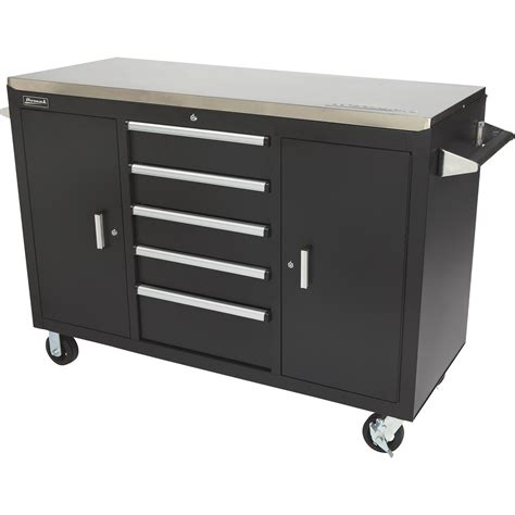 rolling tool cabinet workbench homak 56in rolling workstation black stainless steel