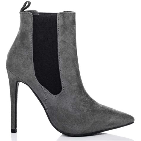 grey suede high heel shoes spylovebuy alexandria grey ankle boots shoes at