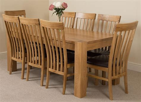 Oak Dining Table And 8 Chairs Kuba Solid Oak 180cm Dining Table With 8 Harvard Solid Oak Dining Chairs Light Oak And Brown