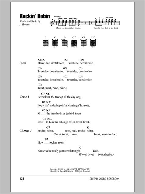 printable lyrics to rockin robin rockin robin sheet music by bobby day lyrics chords