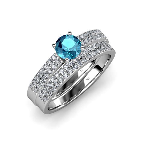Blue Topaz Set Ring blue topaz bridal set ring wedding band 1 75 ct tw 14k gold ebay