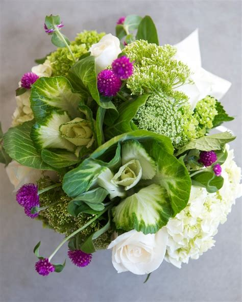 how to use flowering kale ornamental cabbage from your garden in a beautiful bouquet or