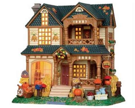 lemax halloween houses lemax village harvest crossing winslow house with fall decorations bnib retired ebay