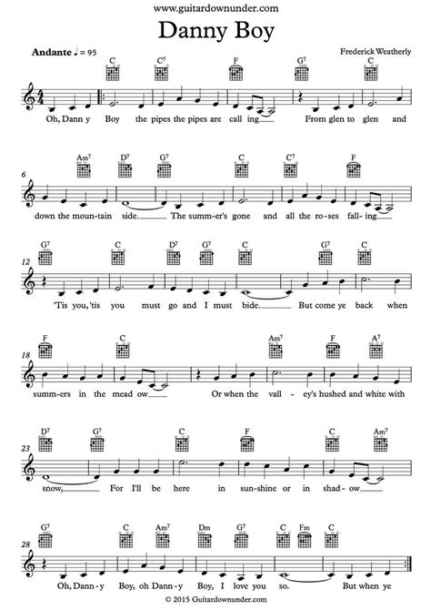 strumming pattern for you look wonderful tonight danny boy irish traditional song includes lead sheet