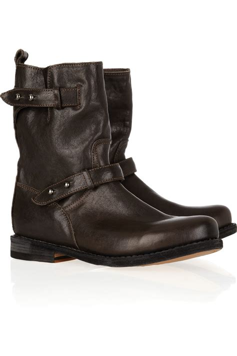 rag and bone boots rag bone moto leather biker boots in brown lyst
