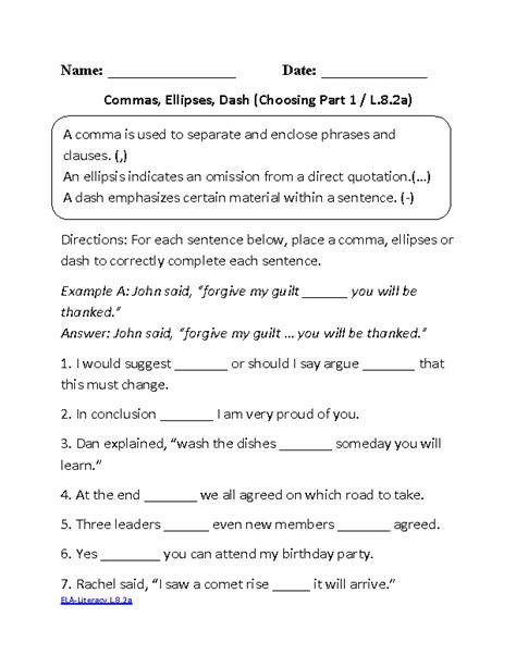 Free Grammar Worksheets 7th Grade by 8th Grade Common Language Worksheets Englishlinx